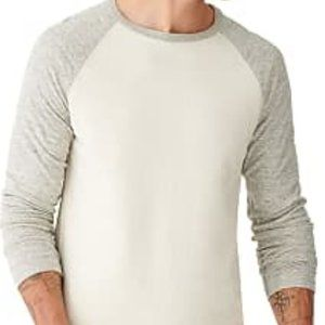 Lucky Brand waffle raglan shirt grey and white